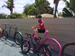 Me on Huge Pink Bike